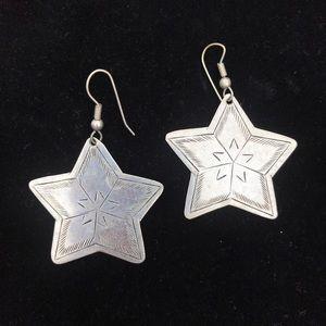 Large vintage star earrings